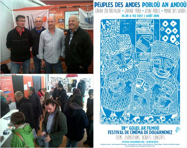 Stand de la CMCAS Finistère Morbihan et des Activités sociales au festival de cinéma de Douarnenez ©E.Barbezat/ccas ; Affiche du festival 2015 ©Festival de cinéma de Douarnenez 2015