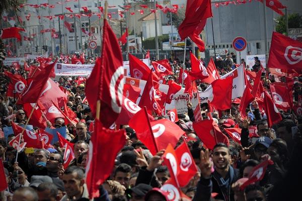 Le syndicat tunisien en manifestation au Bardo © Joseph Marando/ccas