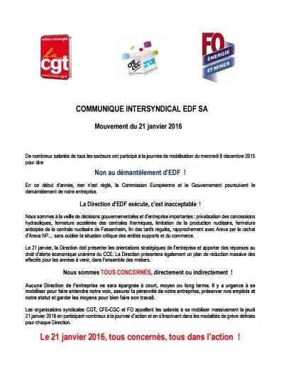 Cliquez sur l'image ou ici pour lire le communiqué intersyndical d'EDF SA d'appel à la grève.
