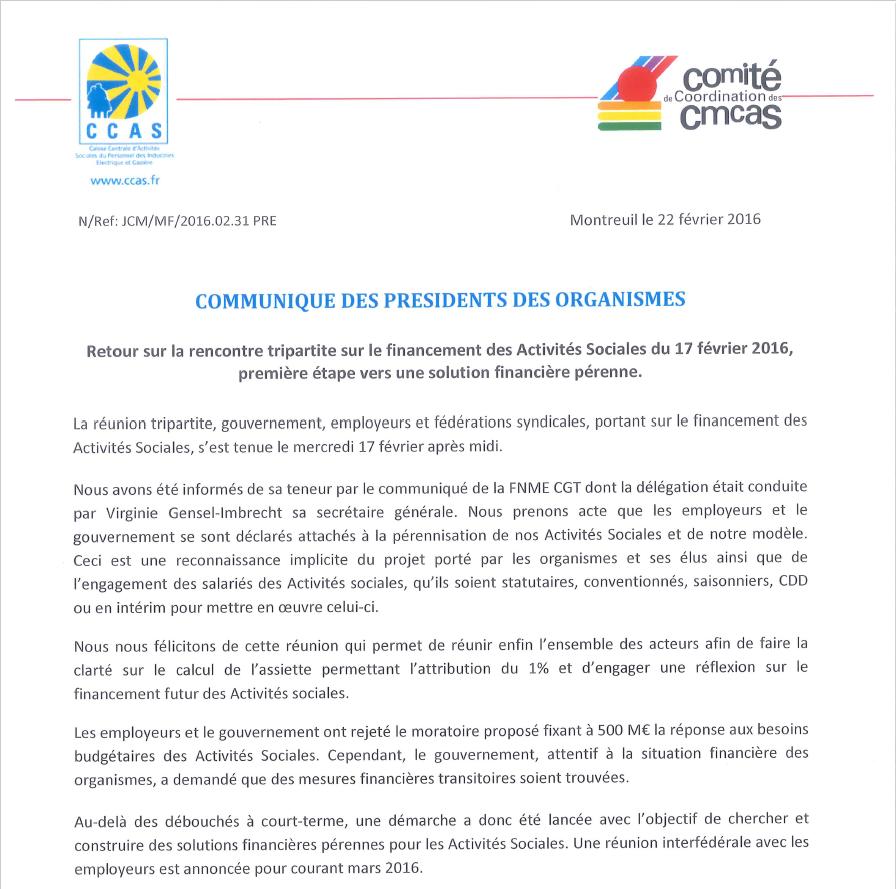 Cliquer sur l'image pour lire le communiqué des présidents des organismes.
