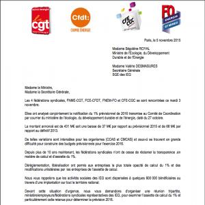 Cliquer sur l'image pour lire la lettre des fédérations syndicales au ministère de l'énergie et du développement durable.