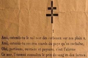 Le chant des partisans, zoom sur extrait, Musée de la Résistance nationale © Charles Crié/CCAS