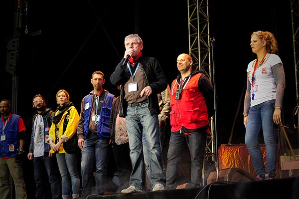 Discours inaugural du Festival d'énergies 2016. Michaël Fieschi, président de la CCAS, et en veste rouge Pascal Aubrée © Joseph MARANDO/CCAS