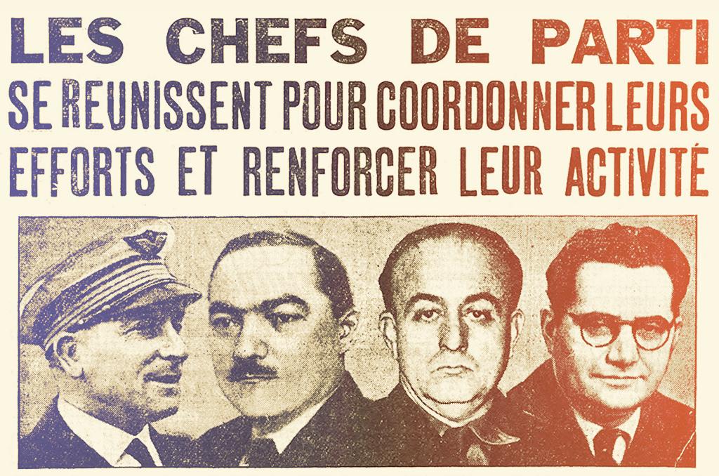 """De gauche à droite: MM. Costantini, Déat, Delincke et Doriot. Archives """"Le Matin"""". © Wikimedia"""