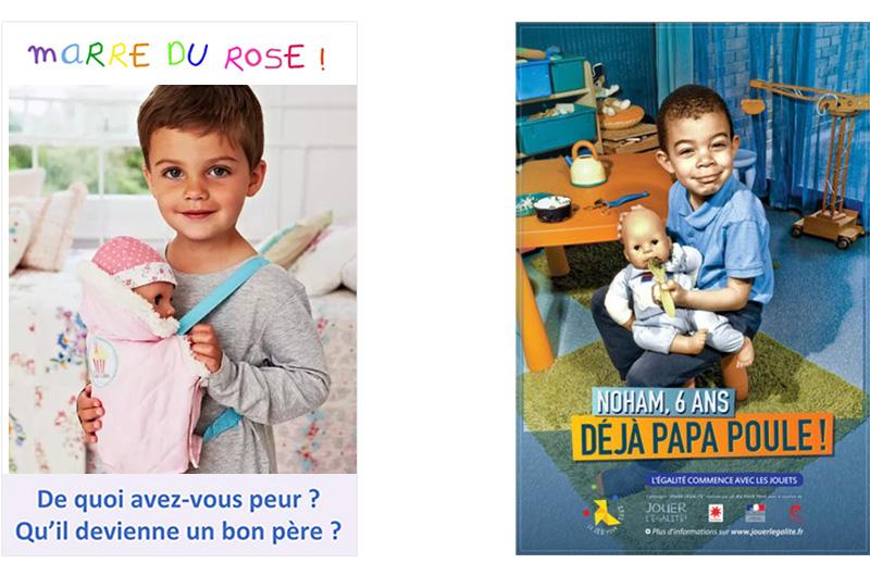 Ci-dessus, 2 affiches en vis-à-vis : un bon père vs papa poule