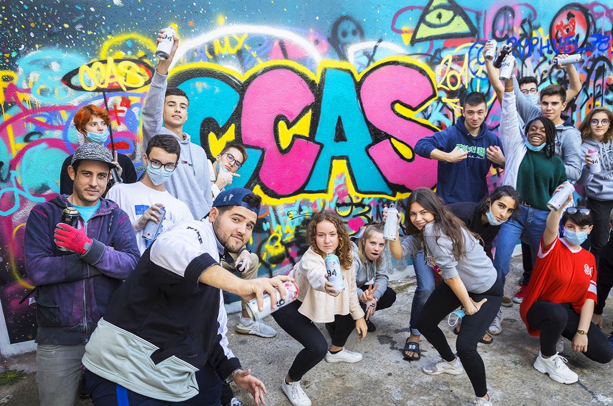 Atelier graff avec l'association Line up, colo 15-17 Street art à Montpellier (Hérault), octobre 2019.