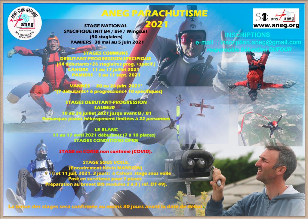 stages parachutisme aneg 2021
