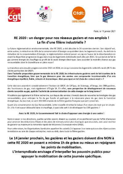RE 2020 communiqué intersyndical