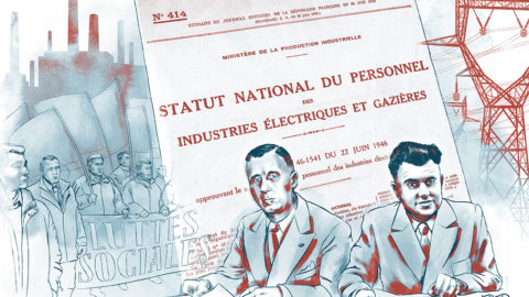 illustration 75 ans du statut, Marcel Paul et Ambroise Croizat signent le statut national