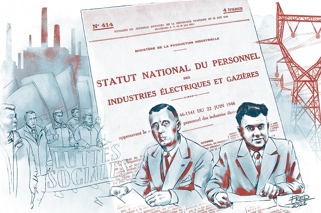 illustration 75 ans du statut, Marcel Paul et Ambroise Croizat signent le statut national